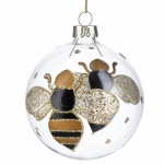 Gisela Graham Glass Bauble with Black and Gold Bumble Bee