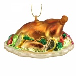 Gisela Graham Painted Glass Turkey Dinner Decoration