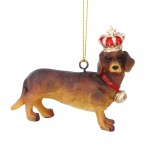 Gisela Graham Resin Dachshund with Crown Decoration