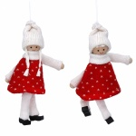 Gisela Graham Set of 2 Red and White Knitted Scandi Kids Decorations