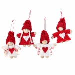 Gisela Graham Set of 4 Mini Felt Dress Kids Christmas Decorations