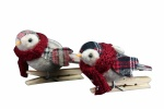 Gisela Graham Set of 2 Tartan Fabric Bird on Peg Decorations