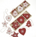 Heaven Sends Red And White Scandi Wooden Christmas Decorations
