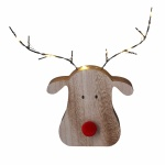 Gisela Graham Wood LED Reindeer Head Ornament