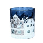 Gisela Graham Blue/White Street Scene T-Lite Holder