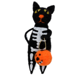 Gisela Graham Wool Skeleton Cat with Pumpkin Decoration