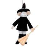 Gisela Graham Wool Mouse Halloween Wizard Decoration