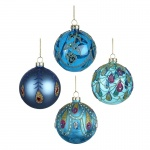 Heaven Sends Set of 4 Peacock Decorated Baubles