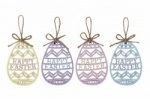 Set of 4 Happy Easter Fretwork Eggs In Pretty Pastel Colours