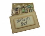 East of India Miniature Wooden Nativity Set with Characters