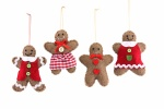 Gisela Graham Felt Gingerbread Boy & Girl Christmas Tree Decorations