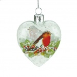 Gisela Graham Clear Glass Heart with Robin Christmas Decoration