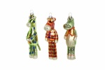 Gisela Graham Set of Glass Alligator/Horse/Zebra Christmas Decorations
