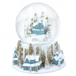Gisela Graham White and Gold Village Scene Snow Globe