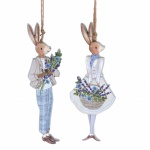 Gisela Graham 2 Piece Wooden Rabbit Easter Hanging Decorations