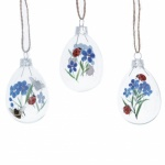 Gisela Graham 3 Piece Forget Me Not Ladybird Glass Easter Decorations