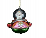 Gisela Graham Glass Santa Christmas Decoration