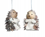 Gisela Graham Bristle Hedgehog Christmas Tree Decorations