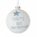 Heaven Sends Baby Boy's 1st Christmas Glass Bauble