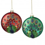 Heaven Sends Set of 2 Glass Peacock Baubles