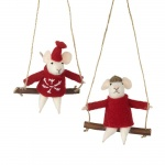 Set of 2 Felt Mice On A Swing Tree Decorations