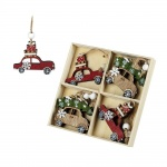 Heaven Sends Set of 12 Wooden Car Christmas Decorations