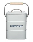 Kitchen Craft Retro Style Grey Lidded Compost Bucket