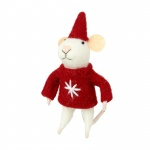 Heaven Sends Wool Mouse in Red Snowflake Jumper Christmas Decoration