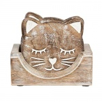 Sass & Belle Set of 6 Wooden Carved Cat Coasters