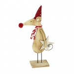 Heaven Sends Wooden Mouse in Hat and Scarf Standing Decoration