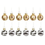 Sass & Belle Set of 12 Leopard and Zebra Print Mini Christmas Baubles