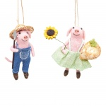 Sass & Belle Set of 2 Felt Farmer Pigs Hanging Decorations