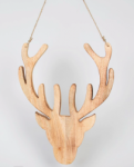 Wooden Stags Head Christmas Wall Decoration