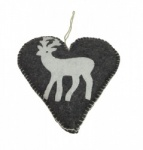 Shoeless Joe Felt Reindeer Heart Christmas Decoration