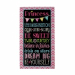 Princess Rules Girls Bedroom Wooden Wall Feature Plaque