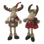 Heaven Sends Boy and Girl Moose Plush Christmas Decorations