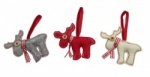 Heaven Sends Set Of 3 Fabric Moose Christmas Tree Decorations