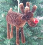 Gisela Graham Christmas Decoration - Bristle Red Nose Reindeer