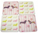 Set of 4 Melamine Pretty Sausage Dog Coasters