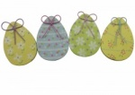 Gisela Graham Easter Decorations - 4 Wooden Eggs