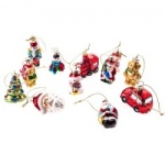 Gisela Graham Set of 12 Retro Glass Christmas Decorations