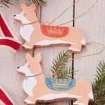 Gisela Graham Set of 2 Corgi Christmas Tree Decorations