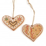 Heaven Sends 2 Gingerbread Hearts Christmas Decorations