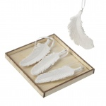 Heaven Sends Set of 12 Glittered Feather Decorations