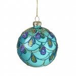 Heaven Sends Peacock Blue Glass Christmas Tree Bauble