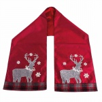 Heaven Sends Tartan Reindeer  Fabric Table Runner