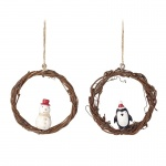 Heaven Sends Penguin and Snowman Mini Wreath Decorations