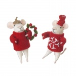 Heaven Sends Set of 2 Standing Mice Christmas  Decorations