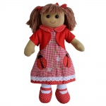 Powell Craft Childrens Fabric Rag Doll - Ladybird Dress Design