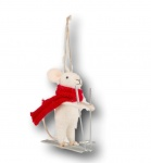 Sass and Belle Felt Skiing Mouse Christmas Tree Decoration